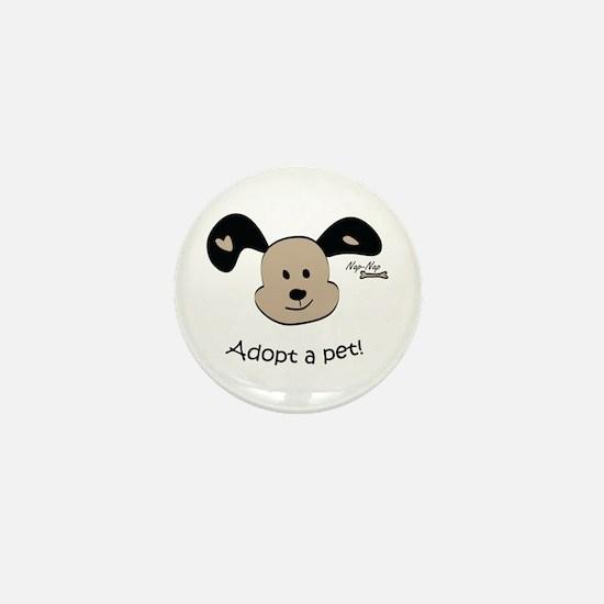 Adopt a Pet! Cute Puppy Design Mini Button (10 pac