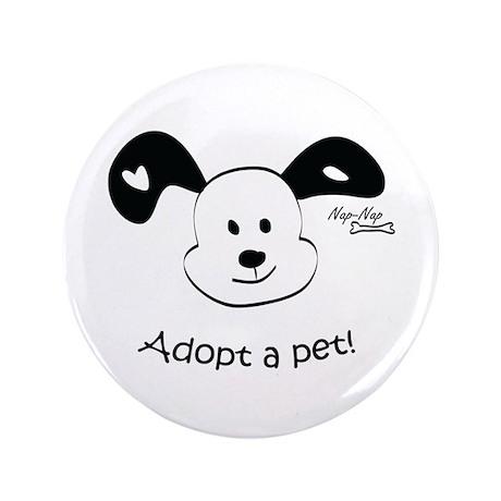 """Adopt a Pet! Cute Puppy Design 3.5"""" Button (100 pa"""