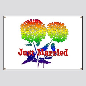 Rainbow Flower Marriage Banner