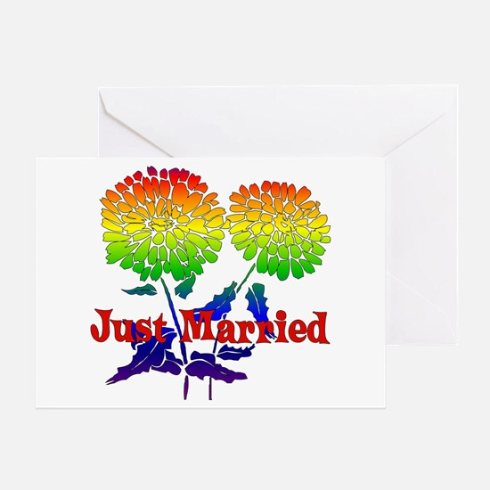 Rainbow Flower Marriage Greeting Card