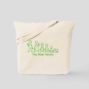 AlienFamilyText Tote Bag