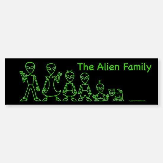 AlienFamilyText Black Bumper Bumper Bumper Sticker
