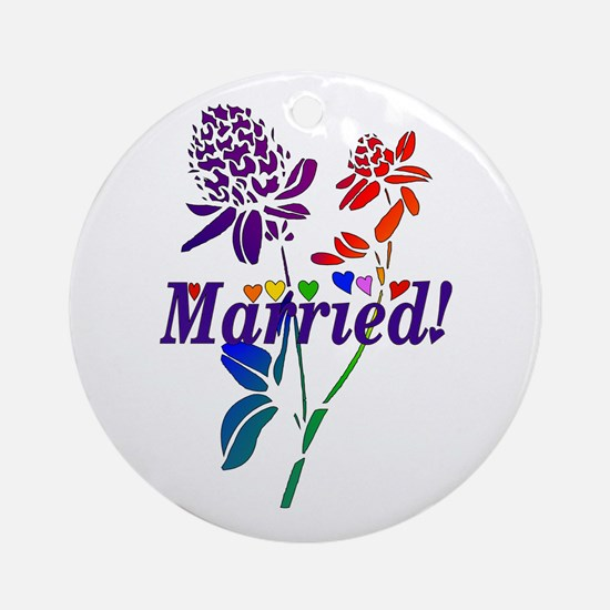 Married Rainbow Flowers Ornament (Round)