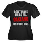 Oakland Football Women's Plus Size V-Neck Dark T-S