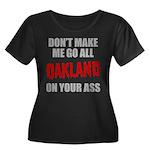 Oakland Football Women's Plus Size Scoop Neck Dark