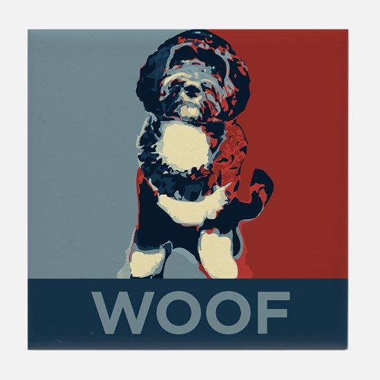 WOOF! Bo The First Dog Tile Coaster