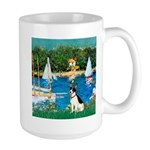 Sailboats / Rat Terrier Large Mug