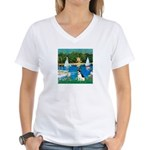 Sailboats / Rat Terrier Women's V-Neck T-Shirt
