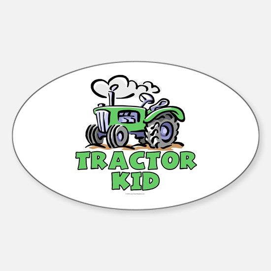 Green Tractor Kid Sticker (Oval)