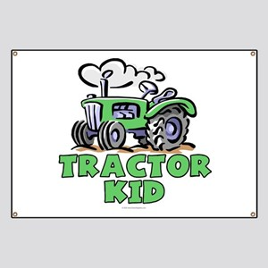 Green Tractor Kid Banner