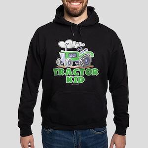 Green Tractor Kid Hoodie (dark)