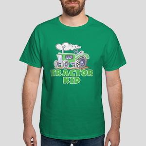Green Tractor Kid Dark T-Shirt