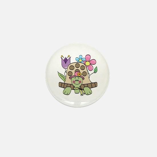 Springtime Turtle Mini Button