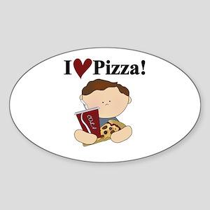 Boy I Love Pizza Oval Sticker