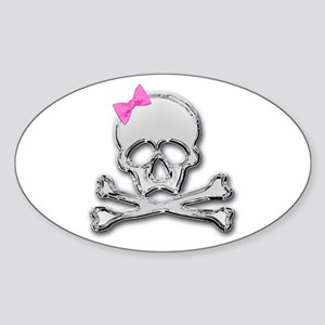 Chrome skull with bow 2 Oval Sticker