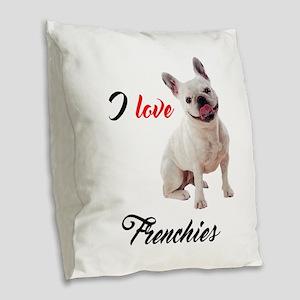 I Love French Bulldogs Burlap Throw Pillow