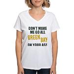 Green Bay Football Women's V-Neck T-Shirt