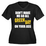 Green Bay Football Women's Plus Size V-Neck Dark T