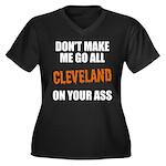 Cleveland Football Women's Plus Size V-Neck Dark T