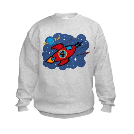 Rocket Ship 4th Birthday Kids Sweatshirt