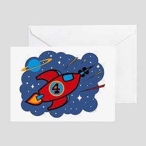 Rocket Ship 4th Birthday Greeting Card