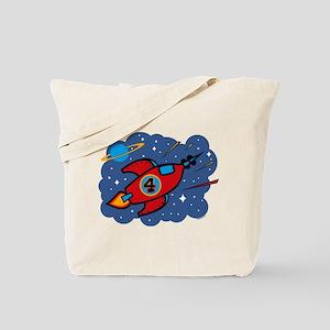 Rocket Ship 4th Birthday Tote Bag