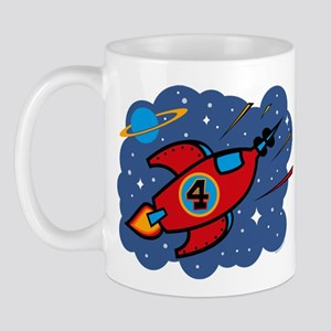 Rocket Ship 4th Birthday Mug