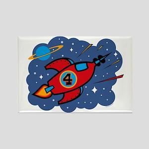 Rocket Ship 4th Birthday Rectangle Magnet
