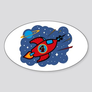 Rocket Ship 4th Birthday Oval Sticker
