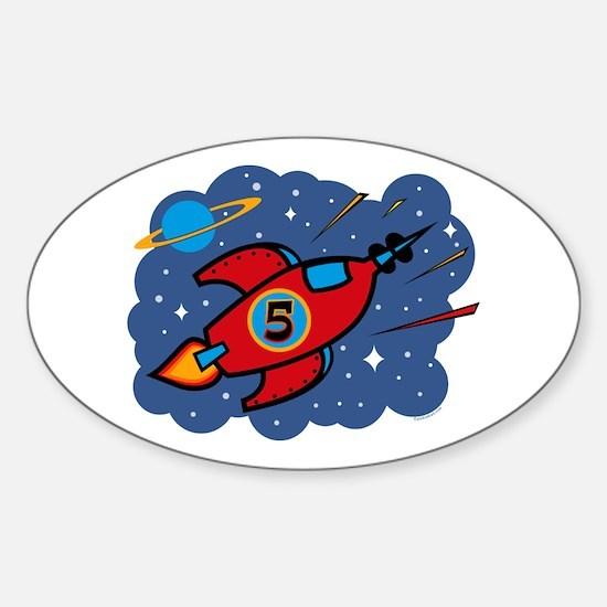 Rocket Ship 5th Birthday Oval Decal