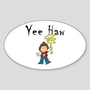 Yee Haw Cowboy Oval Sticker