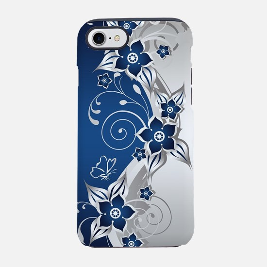 Blue and Silver Gray Floral iPhone 7 Tough Case