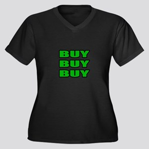 """Buy Buy Buy"" Women's Plus Size V-Neck Dark T-Shir"