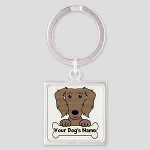 Personalized Dachshund Square Keychain