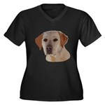Labrador Ret Women's Plus Size V-Neck Dark T-Shirt