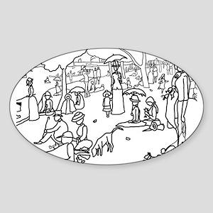 A Sunday Afternoon - Stick Oval Sticker