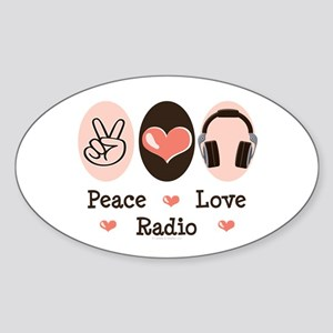 Peace Love Radio Oval Sticker
