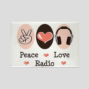 Peace Love Radio Rectangle Magnet