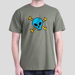 Blue Skull and Bones Dark T-Shirt