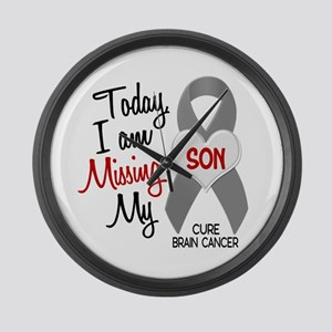 Missing 1 Son BRAIN CANCER Large Wall Clock