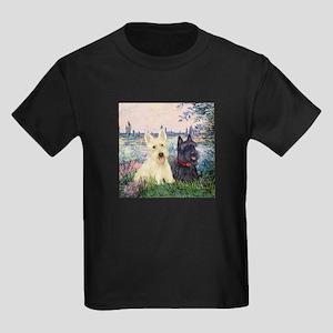 Seine / Scotties (b&w) Kids Dark T-Shirt