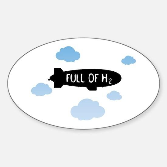 Hydrogen Blimp & Clouds Sticker (Oval)