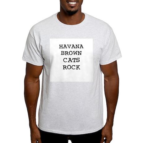 HAVANA BROWN CATS ROCK Ash Grey T-Shirt