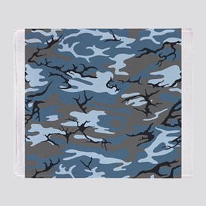 Blue Camouflage Throw Blanket