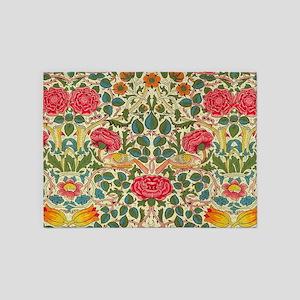 Rose Chintz Pattern Colorful Damask 5'x7'Area Rug