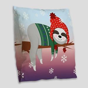 funny christmas sloth Burlap Throw Pillow
