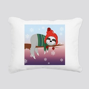funny christmas sloth Rectangular Canvas Pillow