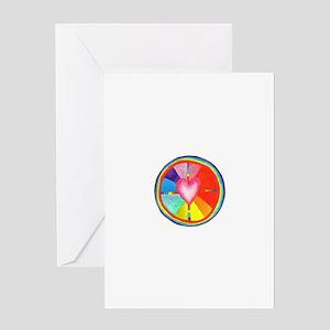 Rainbow Heart Mandala Greeting Card