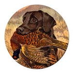 Vintage Lab Hunt Art Round Car Magnet