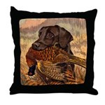 Vintage Lab Hunt Art Throw Pillow